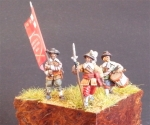 Officer, Drummer, Standard Bearer, 17th century, 1:72